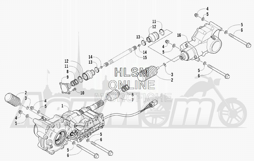Запчасти для Квадроцикла Arctic Cat 2012 450 TRV BLACK INTERNATIONAL [A2012 TBK4COSP] Раздел: DRIVE TRAIN ASSEMBLY   трансмиссия в сборе