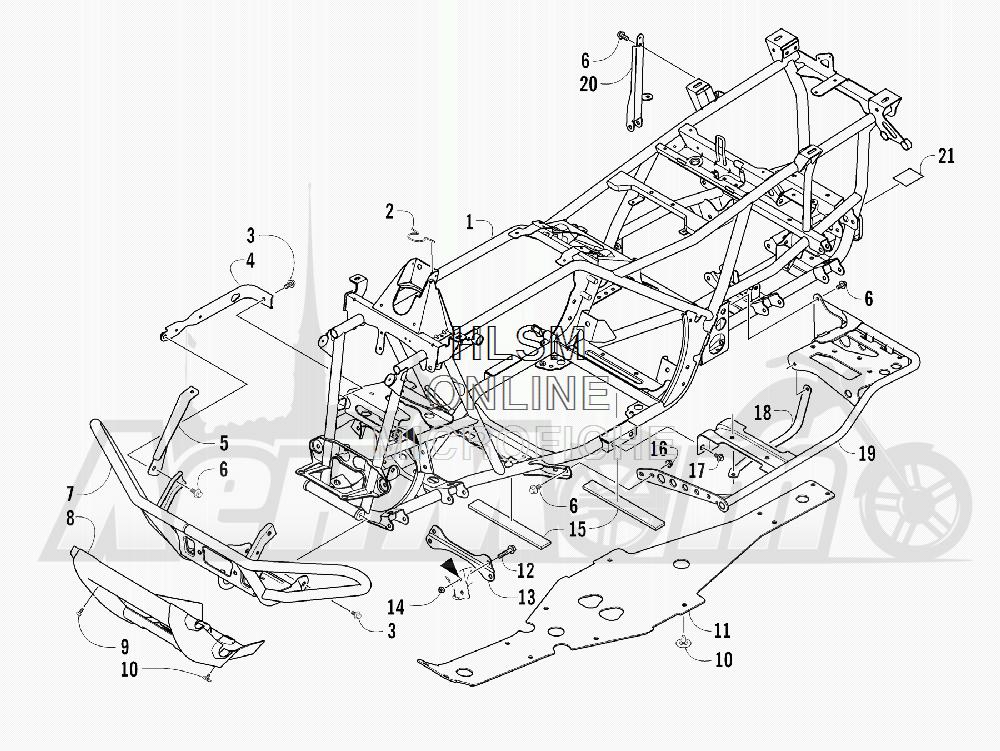 Запчасти для Квадроцикла Arctic Cat 2012 450 TRV GT ORANGE [A2012TGK2PUSU] Раздел: FRAME AND RELATED PARTS | рама и связанные детали