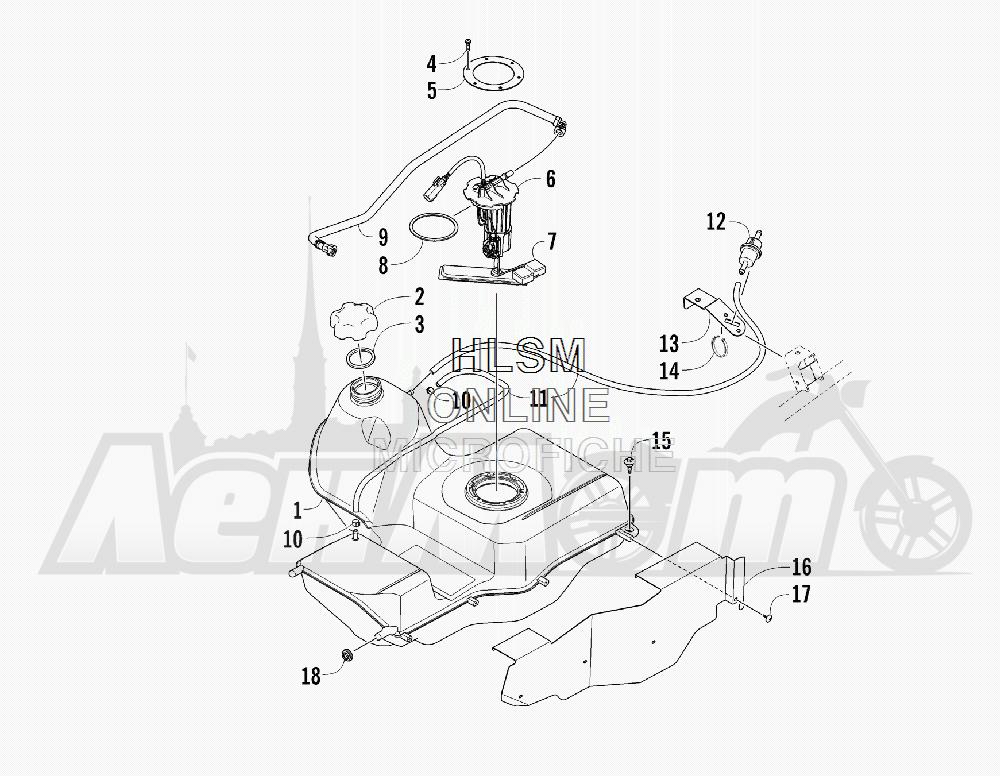 Запчасти для Квадроцикла Arctic Cat 2012 450 TRV GT ORANGE [A2012TGK2PUSU] Раздел: GAS TANK ASSEMBLY | топливный бак в сборе