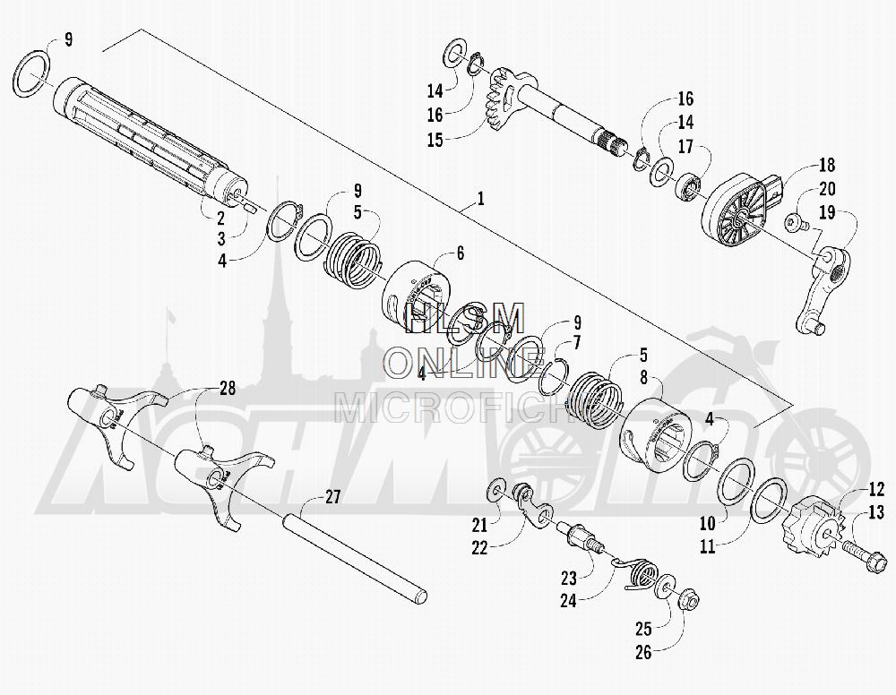 Запчасти для Квадроцикла Arctic Cat 2012 450 TRV GT ORANGE [A2012TGK2PUSU] Раздел: GEAR SHIFTING ASSEMBLY   шестерня переключение в сборе