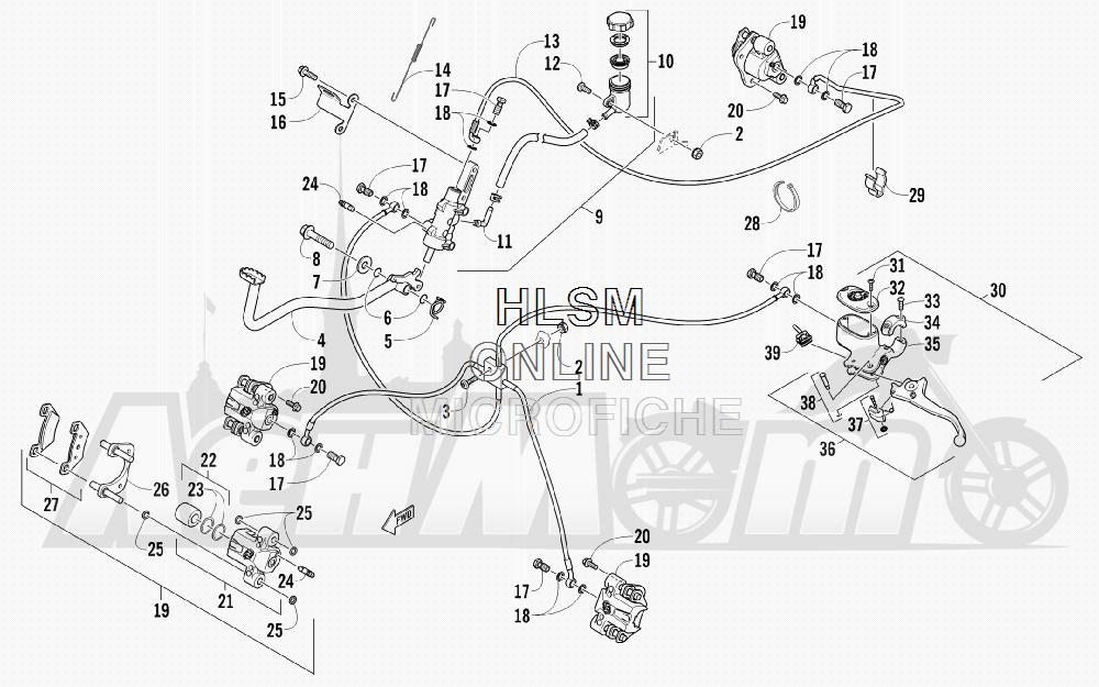 Запчасти для Квадроцикла Arctic Cat 2012 450 TRV GT ORANGE [A2012TGK2PUSU] Раздел: HYDRAULIC BRAKE ASSEMBLY | гидравлические тормоза в сборе