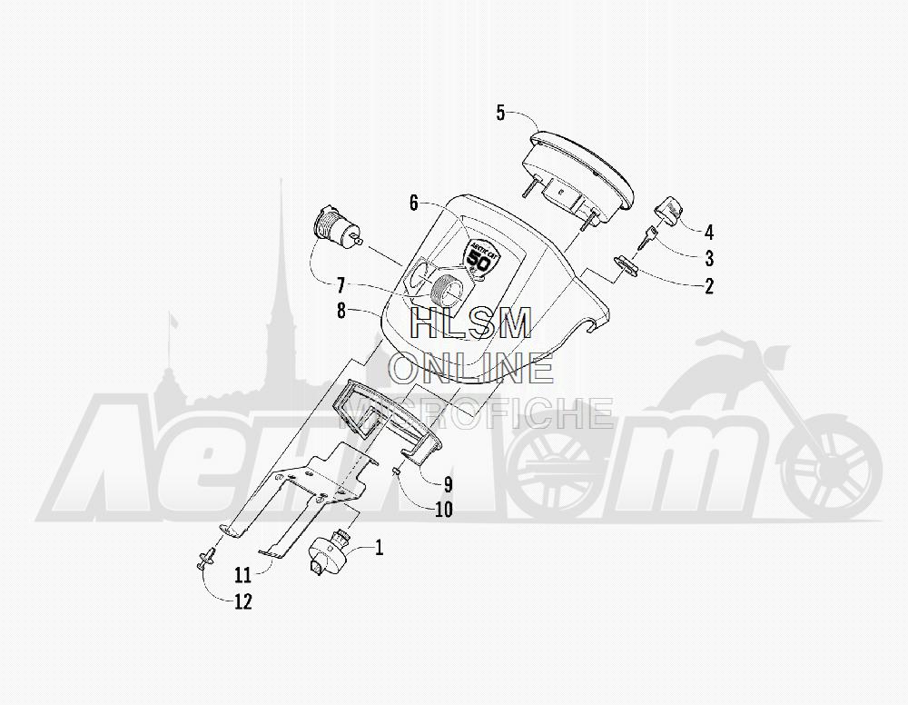 Запчасти для Квадроцикла Arctic Cat 2012 450 TRV GT ORANGE [A2012TGK2PUSU] Раздел: INSTRUMENT POD ASSEMBLY   прибор POD в сборе