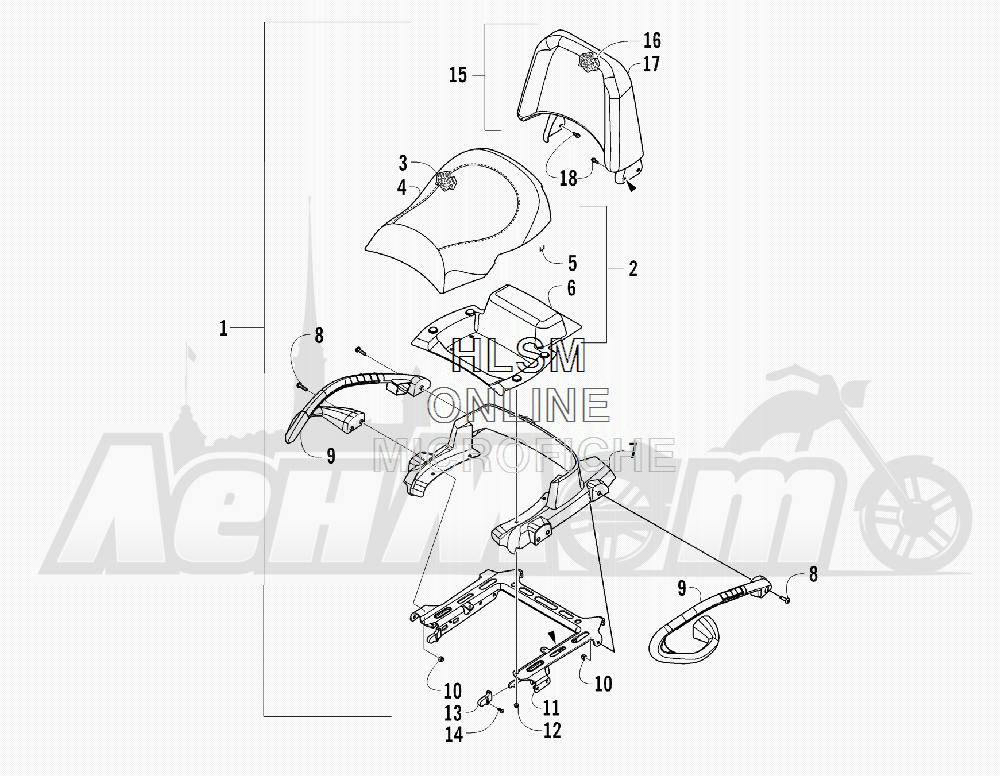 Запчасти для Квадроцикла Arctic Cat 2012 450 TRV GT ORANGE [A2012TGK2PUSU] Раздел: PASSENGER SEAT AND BACKREST ASSEMBLY | пассажирское сиденье и спинка в сборе