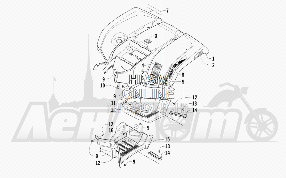 Запчасти для Квадроцикла Arctic Cat 2012 450 TRV GT ORANGE [A2012TGK2PUSU] Раздел: REAR BODY PANEL AND FOOTWELL ASSEMBLIES | зад корпус панель и FOOTWELL в сборе