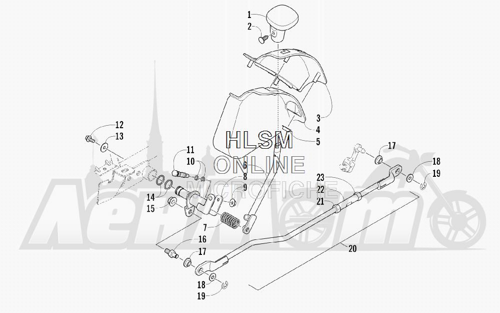 Запчасти для Квадроцикла Arctic Cat 2012 450 TRV GT ORANGE [A2012TGK2PUSU] Раздел: SHIFT LEVER ASSEMBLY | лапка переключения в сборе