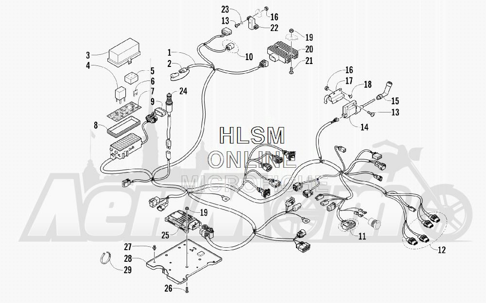 Запчасти для Квадроцикла Arctic Cat 2012 450 TRV GT ORANGE [A2012TGK2PUSU] Раздел: WIRING HARNESS ASSEMBLY | электропроводка коса в сборе
