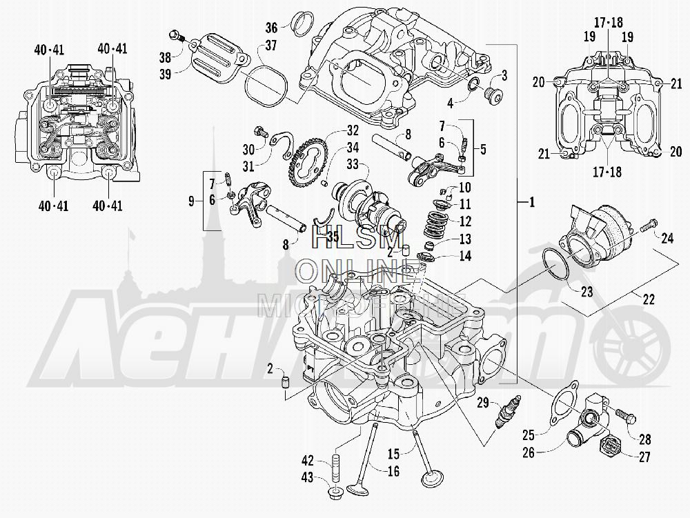 Запчасти для Квадроцикла Arctic Cat 2012 450 TRV GT ORANGE INTERNATIONAL [A2012TGK2POSU] Раздел: CYLINDER HEAD AND CAMSHAFT/VALVE ASSEMBLY | головка цилиндра и распредвал/клапан в сборе