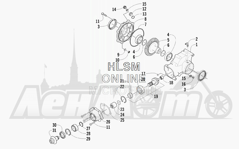 Запчасти для Квадроцикла Arctic Cat 2012 450 TRV GT ORANGE INTERNATIONAL [A2012TGK2POSU] Раздел: REAR DRIVE GEARCASE ASSEMBLY | зад ведущий редуктор в сборе