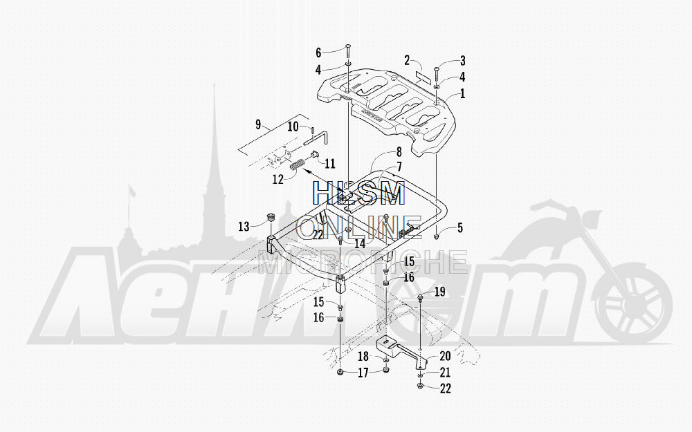 Запчасти для Квадроцикла Arctic Cat 2012 450 TRV GT ORANGE INTERNATIONAL [A2012TGK2POSU] Раздел: REAR RACK ASSEMBLY | зад багажник в сборе