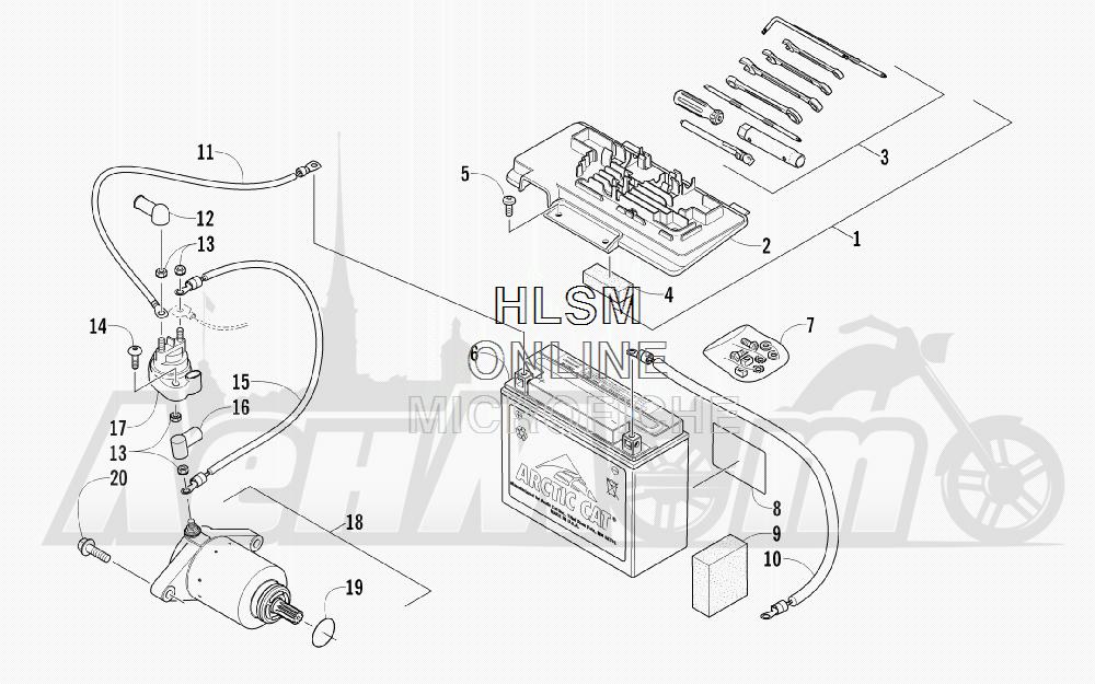 Запчасти для Квадроцикла Arctic Cat 2012 450 GT BLUE [A2012BGK2PUSD] Раздел: BATTERY AND STARTER ASSEMBLY | аккумулятор и стартер в сборе