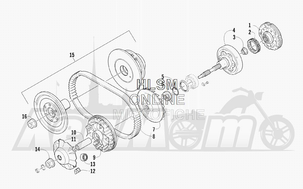 Запчасти для Квадроцикла Arctic Cat 2012 450 GT BLUE [A2012BGK2PUSD] Раздел: CLUTCH AND DRIVE BELT ASSEMBLY   сцепление и вариаторный ремень в сборе