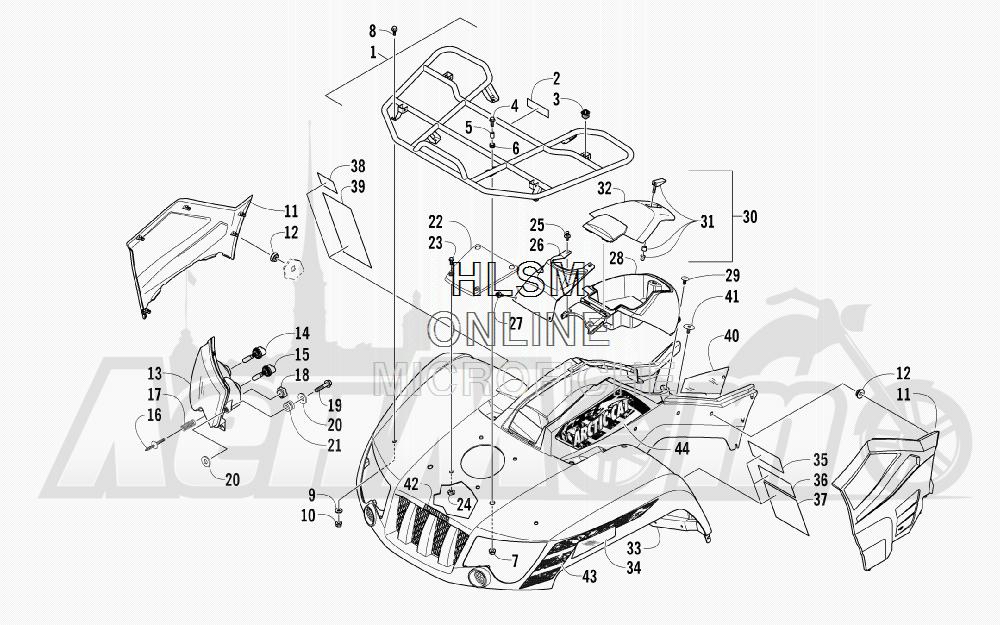 Запчасти для Квадроцикла Arctic Cat 2012 450 GT BLUE [A2012BGK2PUSD] Раздел: FRONT RACK_ BODY PANEL_ AND HEADLIGHT ASSEMBLIES   перед багажник корпус панель и передняя фара в сборе