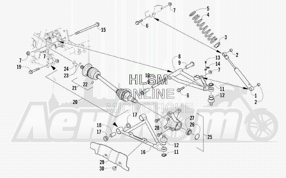 Запчасти для Квадроцикла Arctic Cat 2012 450 GT BLUE [A2012BGK2PUSD] Раздел: FRONT SUSPENSION ASSEMBLY | передняя подвеска в сборе