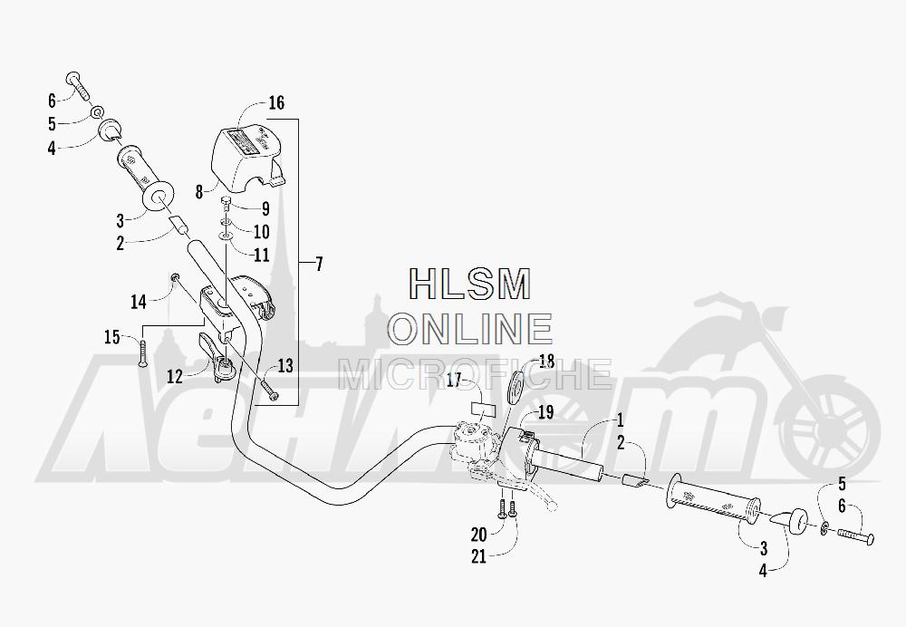 Запчасти для Квадроцикла Arctic Cat 2012 450 GT BLUE [A2012BGK2PUSD] Раздел: HANDLEBAR ASSEMBLY | руль в сборе