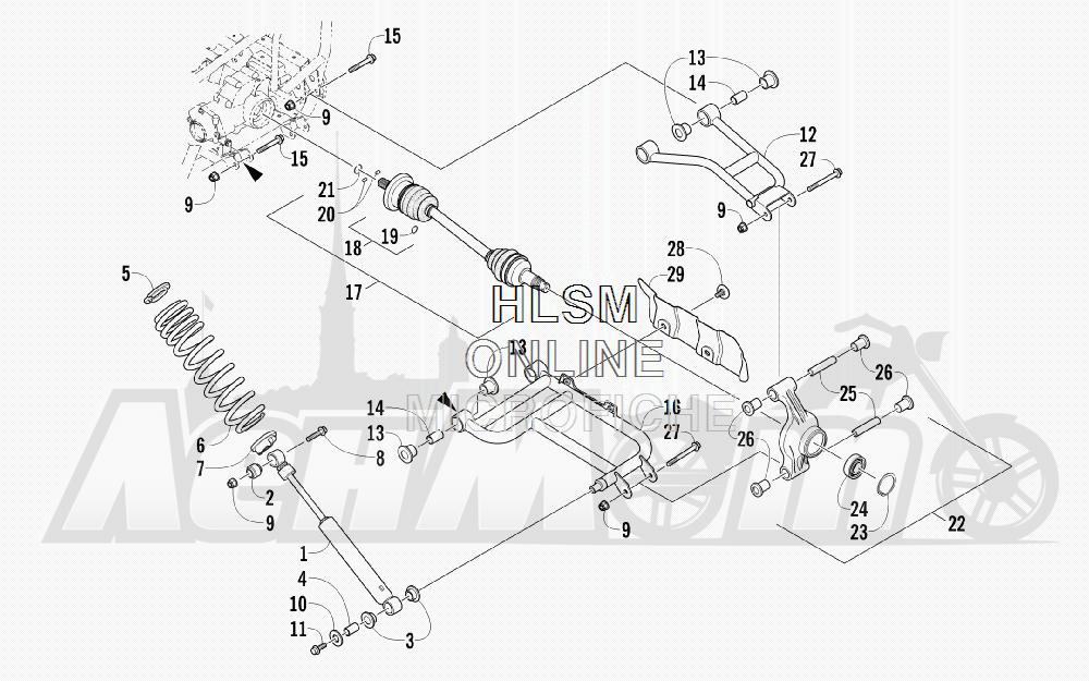 Запчасти для Квадроцикла Arctic Cat 2012 450 GT BLUE [A2012BGK2PUSD] Раздел: REAR SUSPENSION ASSEMBLY | задняя подвеска в сборе