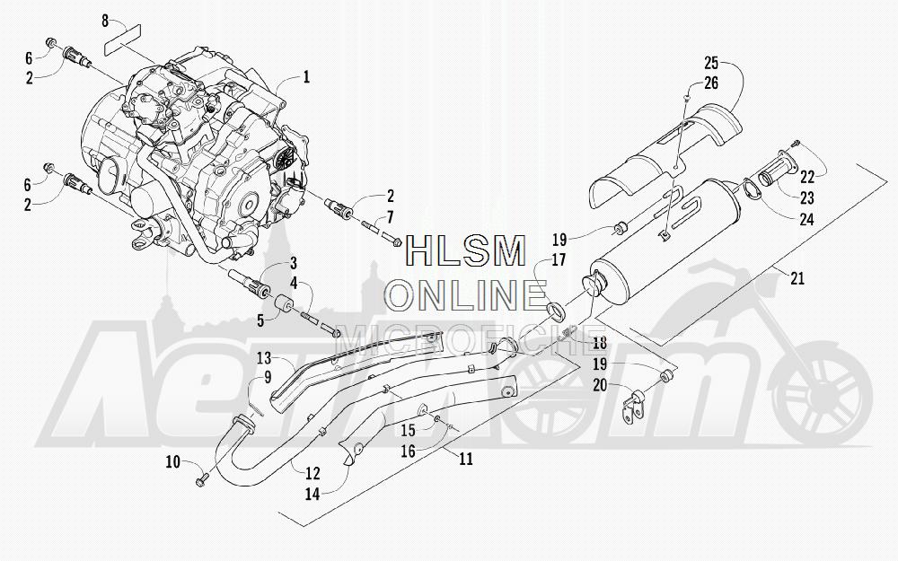 Запчасти для Квадроцикла Arctic Cat 2012 450 GT BLUE INTERNATIONAL [A2012BGK2POSD] Раздел: ENGINE AND EXHAUST | двигатель и выпуск