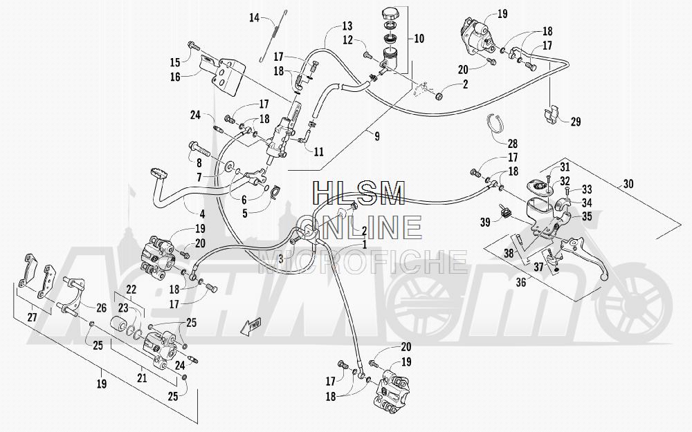 Запчасти для Квадроцикла Arctic Cat 2012 450 GT BLUE INTERNATIONAL [A2012BGK2POSD] Раздел: HYDRAULIC BRAKE ASSEMBLY   гидравлические тормоза в сборе