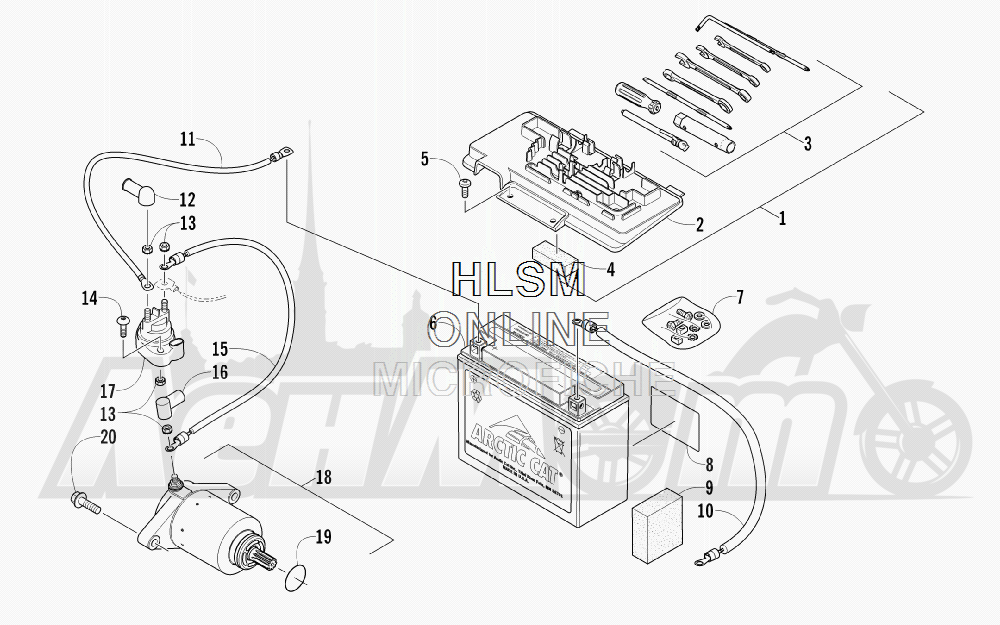 Запчасти для Квадроцикла Arctic Cat 2012 450 GT ORANGE [A2012BGK2PUSU] Раздел: BATTERY AND STARTER ASSEMBLY | аккумулятор и стартер в сборе