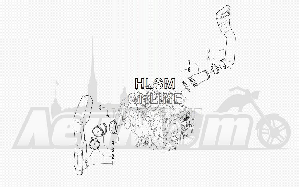 Запчасти для Квадроцикла Arctic Cat 2012 450 GT ORANGE [A2012BGK2PUSU] Раздел: CASE/BELT COOLING ASSEMBLY | корпус/ремень охлаждение в сборе