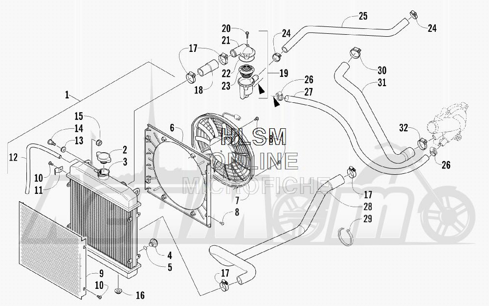 Запчасти для Квадроцикла Arctic Cat 2012 450 GT ORANGE [A2012BGK2PUSU] Раздел: COOLING ASSEMBLY | охлаждение в сборе