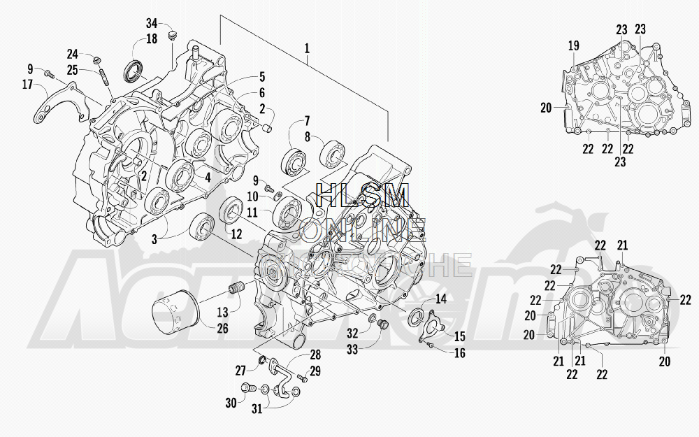 Запчасти для Квадроцикла Arctic Cat 2012 450 GT ORANGE [A2012BGK2PUSU] Раздел: CRANKCASE ASSEMBLY | картер в сборе