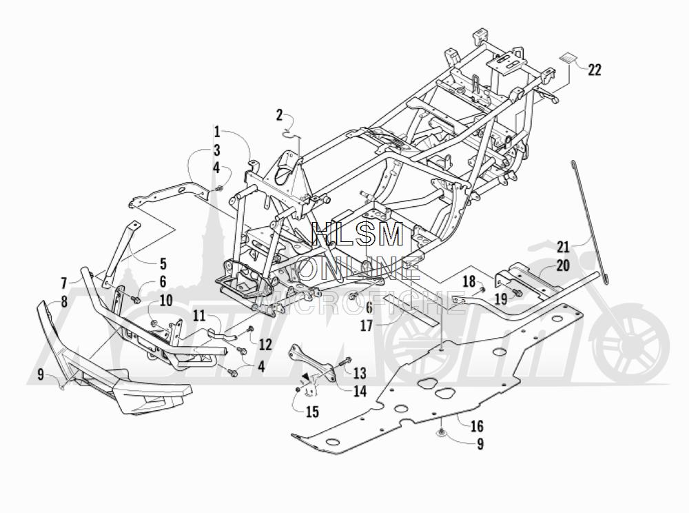 Запчасти для Квадроцикла Arctic Cat 2012 450 GT ORANGE [A2012BGK2PUSU] Раздел: FRAME AND RELATED PARTS | рама и связанные детали