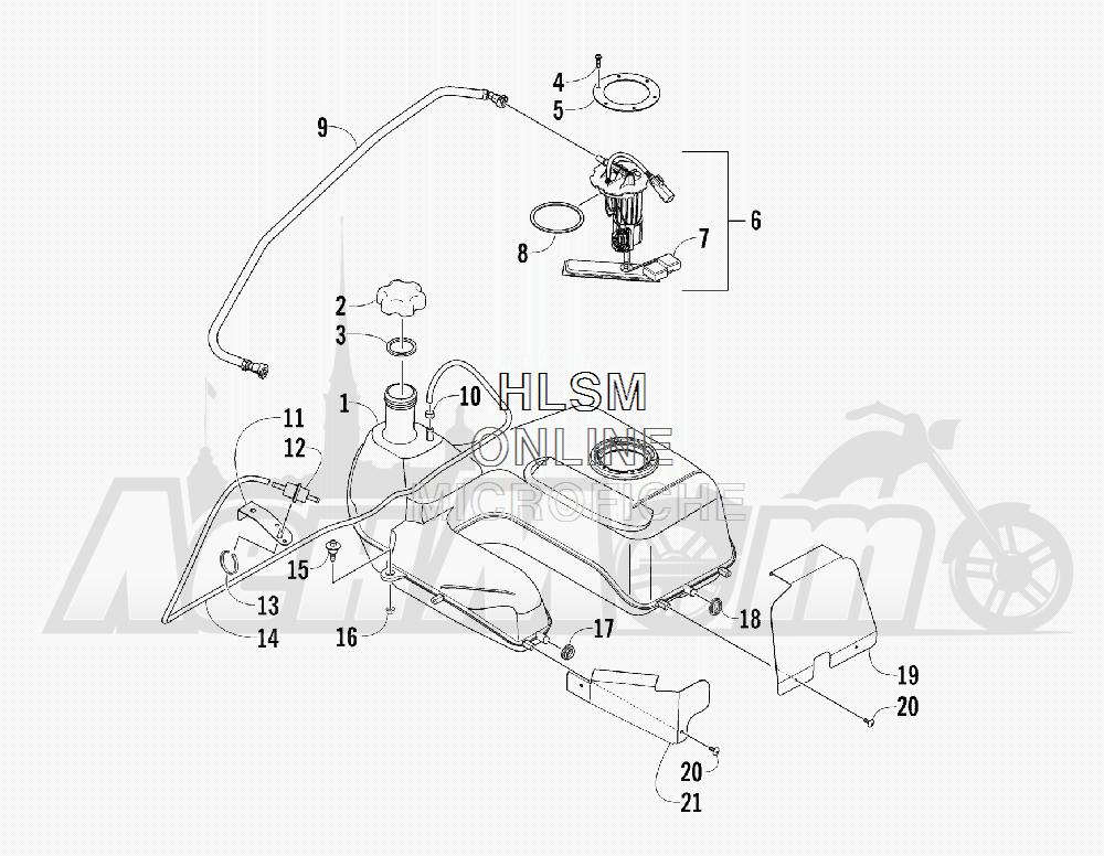 Запчасти для Квадроцикла Arctic Cat 2012 450 GT ORANGE [A2012BGK2PUSU] Раздел: GAS TANK ASSEMBLY | топливный бак в сборе