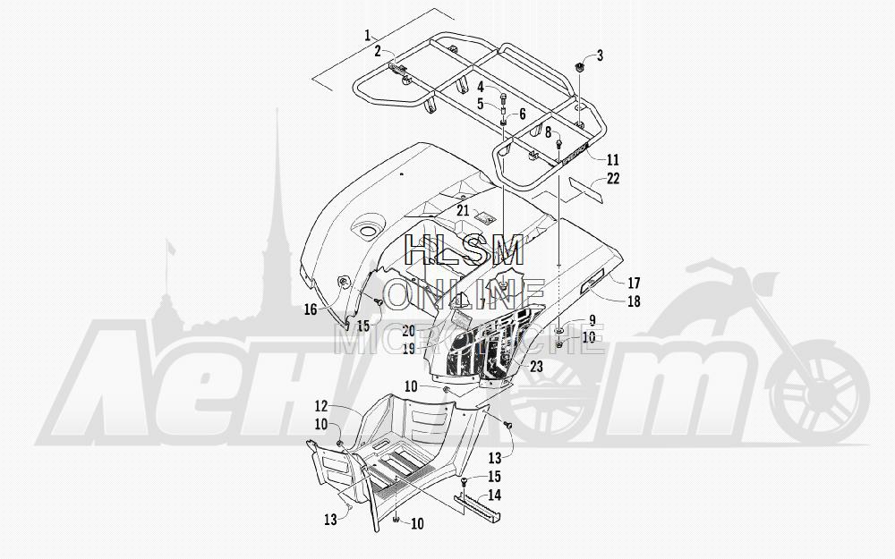 Запчасти для Квадроцикла Arctic Cat 2012 450 GT ORANGE [A2012BGK2PUSU] Раздел: REAR RACK_ BODY PANEL_ AND FOOTWELL ASSEMBLIES | зад багажник корпус панель и FOOTWELL в сборе