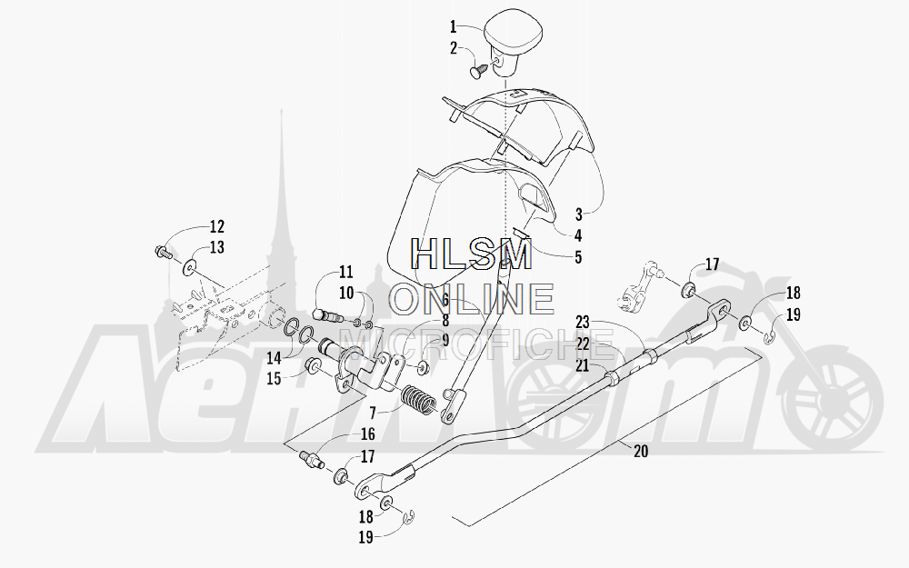 Запчасти для Квадроцикла Arctic Cat 2012 450 GT ORANGE [A2012BGK2PUSU] Раздел: SHIFT LEVER ASSEMBLY | лапка переключения в сборе