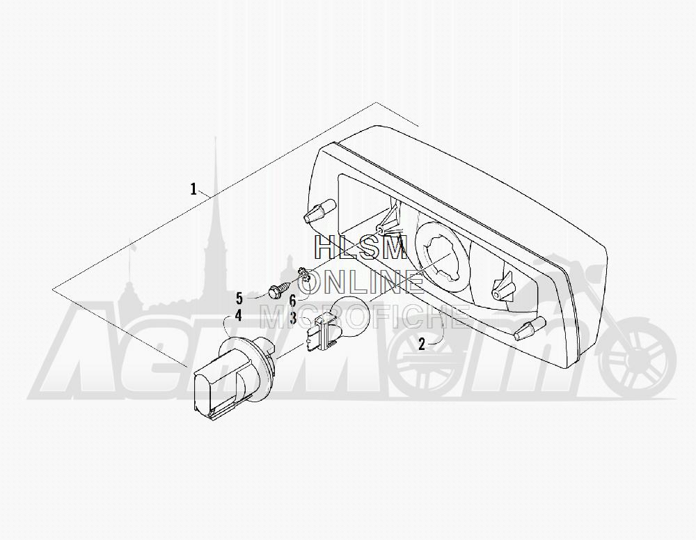 Запчасти для Квадроцикла Arctic Cat 2012 450 GT ORANGE [A2012BGK2PUSU] Раздел: TAILLIGHT ASSEMBLY   задний фонарь в сборе