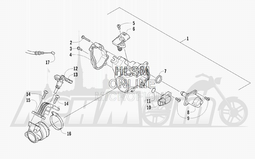 Запчасти для Квадроцикла Arctic Cat 2012 450 GT ORANGE [A2012BGK2PUSU] Раздел: THROTTLE BODY ASSEMBLY | дроссельный узел в сборе