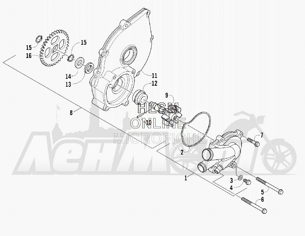 Запчасти для Квадроцикла Arctic Cat 2012 450 GT ORANGE [A2012BGK2PUSU] Раздел: WATER PUMP ASSEMBLY | водяная помпа в сборе