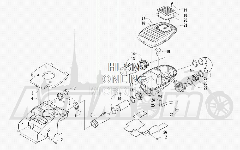Запчасти для Квадроцикла Arctic Cat 2012 450 GT ORANGE INTERNATIONAL [A2012BGK2POSU] Раздел: AIR INTAKE ASSEMBLY | впуск воздуха в сборе