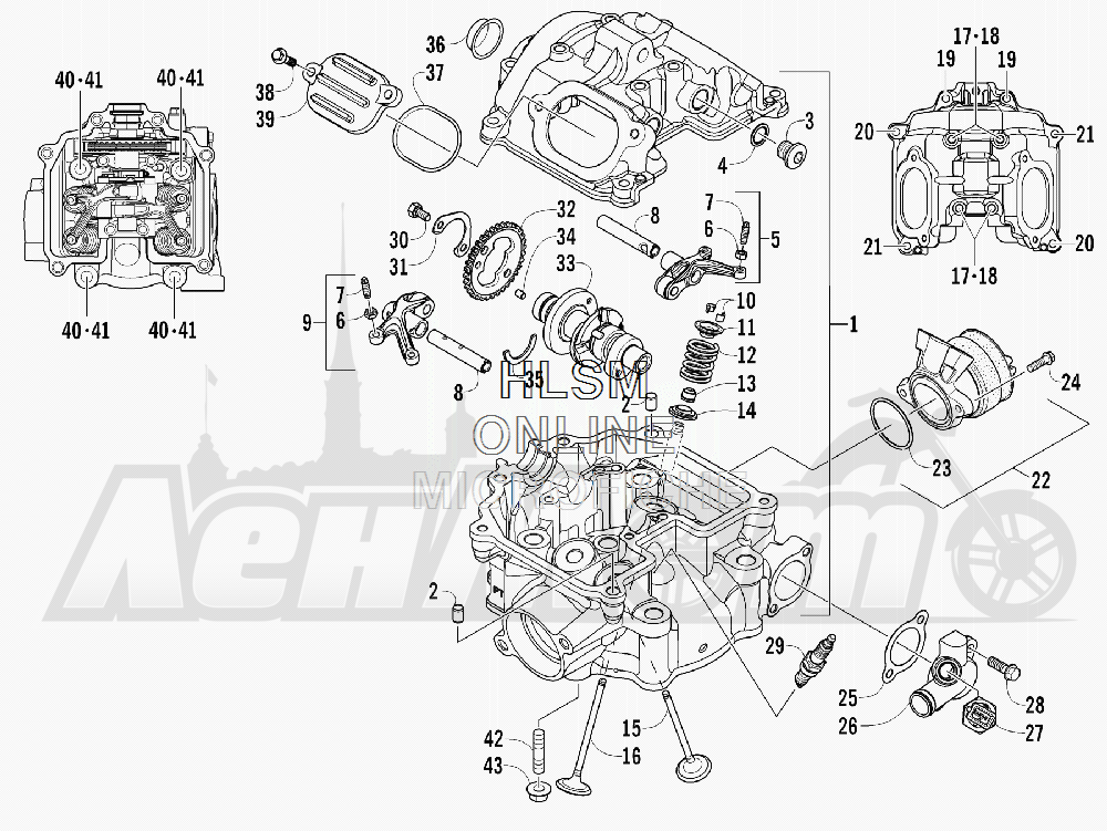 Запчасти для Квадроцикла Arctic Cat 2012 450 GT ORANGE INTERNATIONAL [A2012BGK2POSU] Раздел: CYLINDER HEAD AND CAMSHAFT/VALVE ASSEMBLY | головка цилиндра и распредвал/клапан в сборе