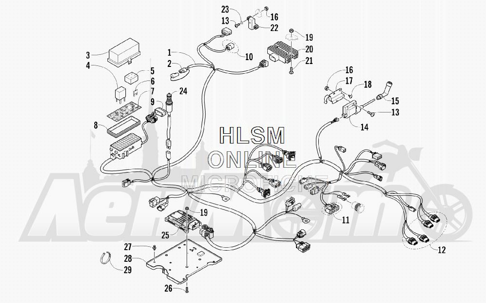 Запчасти для Квадроцикла Arctic Cat 2012 450 GT ORANGE INTERNATIONAL [A2012BGK2POSU] Раздел: WIRING HARNESS ASSEMBLY | электропроводка коса в сборе
