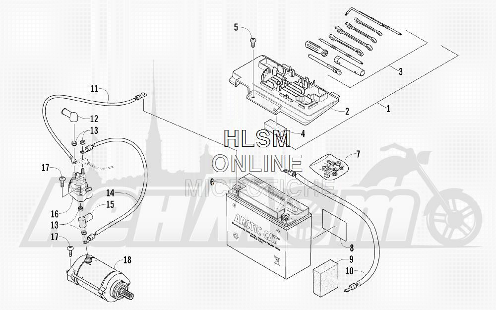 Запчасти для Квадроцикла Arctic Cat 2012 550 BLACK [A2012ICO4EUSP] Раздел: BATTERY AND STARTER ASSEMBLY   аккумулятор и стартер в сборе