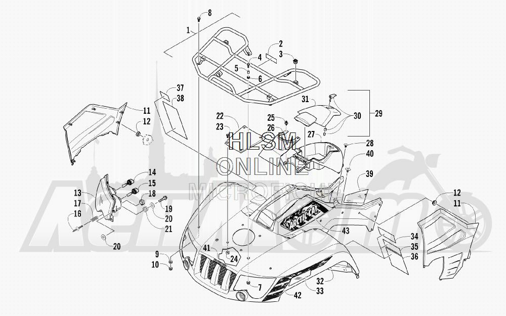 Запчасти для Квадроцикла Arctic Cat 2012 550 BLACK [A2012ICO4EUSP] Раздел: FRONT RACK_ BODY PANEL_ AND HEADLIGHT ASSEMBLIES | перед багажник корпус панель и передняя фара в сборе
