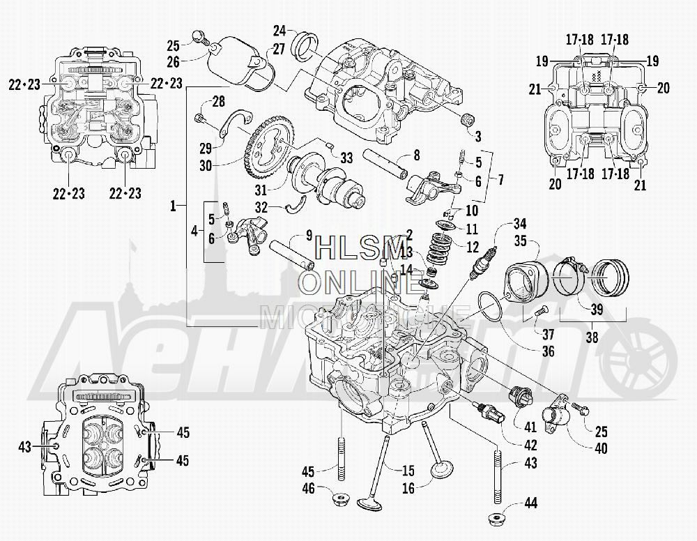 Запчасти для Квадроцикла Arctic Cat 2012 550 BLACK INTERNATIONAL [A2012ICO4EOSP] Раздел: CYLINDER HEAD AND CAMSHAFT/VALVE ASSEMBLY | головка цилиндра и распредвал/клапан в сборе