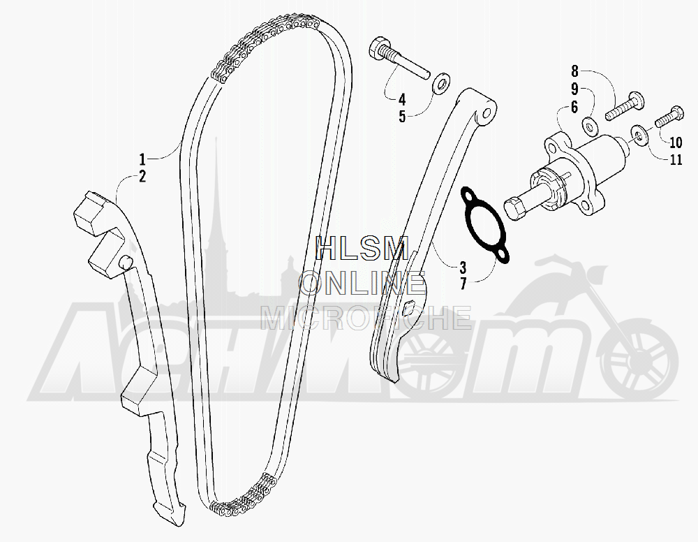 Запчасти для Квадроцикла Arctic Cat 2012 550 CRUISER GT GRAY INTERNATIONAL [A2012TCO1POSS] Раздел: CAM CHAIN ASSEMBLY | цепь грм в сборе