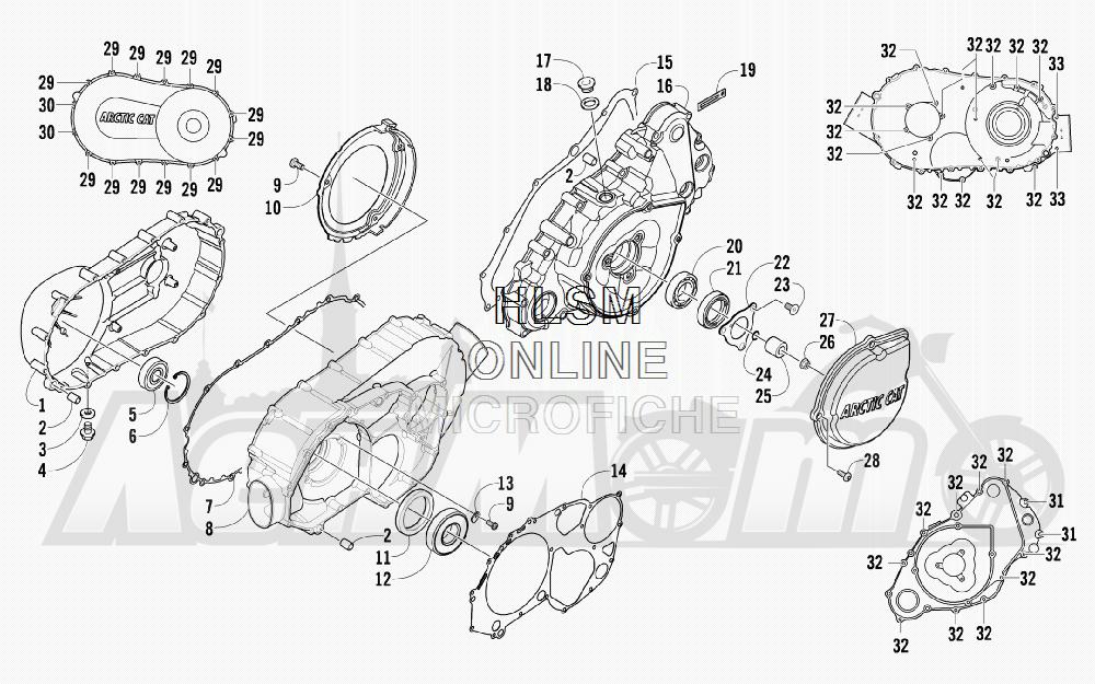 Запчасти для Квадроцикла Arctic Cat 2012 550 CRUISER GT GRAY INTERNATIONAL [A2012TCO1POSS] Раздел: CLUTCH/V-BELT/MAGNETO COVER ASSEMBLY   сцепление/V ремень/магнето крышка в сборе