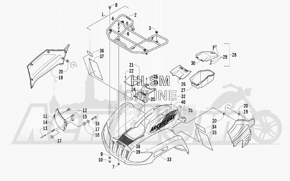 Запчасти для Квадроцикла Arctic Cat 2011 550 TRV GT COPPER [A2011TBO1PUSX] Раздел: FRONT RACK_ BODY PANEL_ AND HEADLIGHT ASSEMBLIES | перед багажник корпус панель и передняя фара в сборе