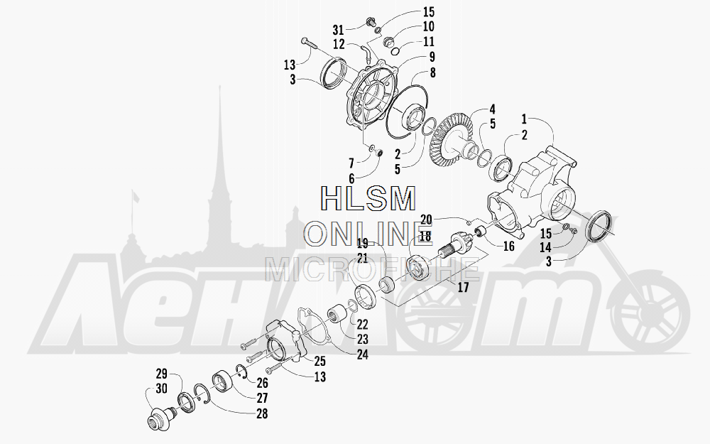 Запчасти для Квадроцикла Arctic Cat 2011 550 TRV GT COPPER [A2011TBO1PUSX] Раздел: REAR DRIVE GEARCASE ASSEMBLY | зад ведущий редуктор в сборе