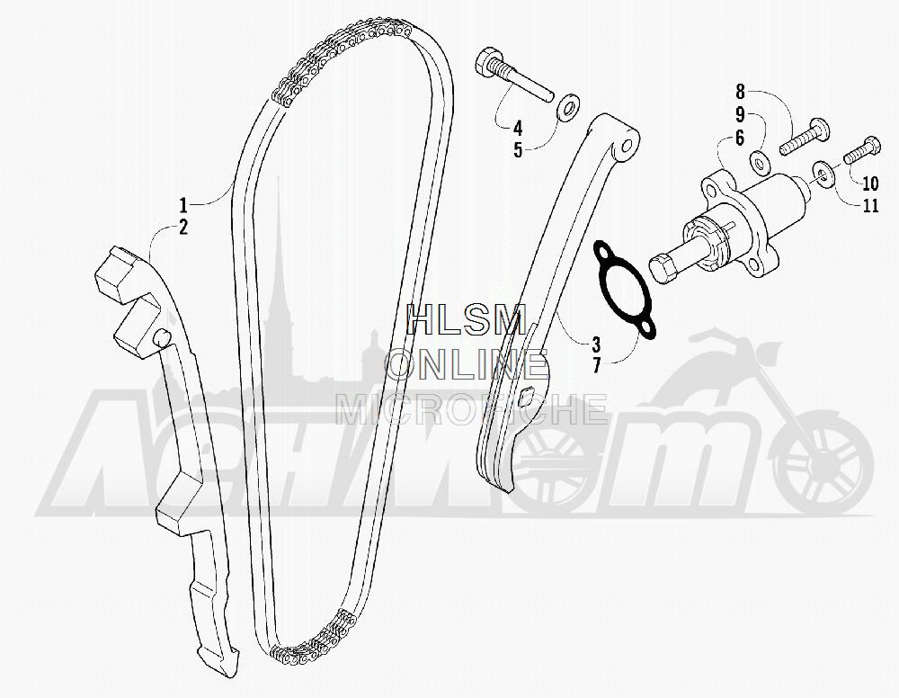 Запчасти для Квадроцикла Arctic Cat 2011 550 TRV GT COPPER [A2011TBO1PUSX] Раздел: CAM CHAIN ASSEMBLY | цепь грм в сборе