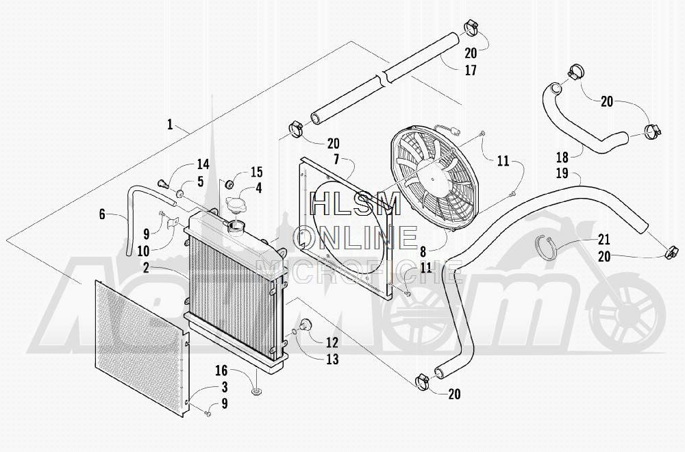 Запчасти для Квадроцикла Arctic Cat 2011 550 TRV GT COPPER [A2011TBO1PUSX] Раздел: COOLING ASSEMBLY | охлаждение в сборе