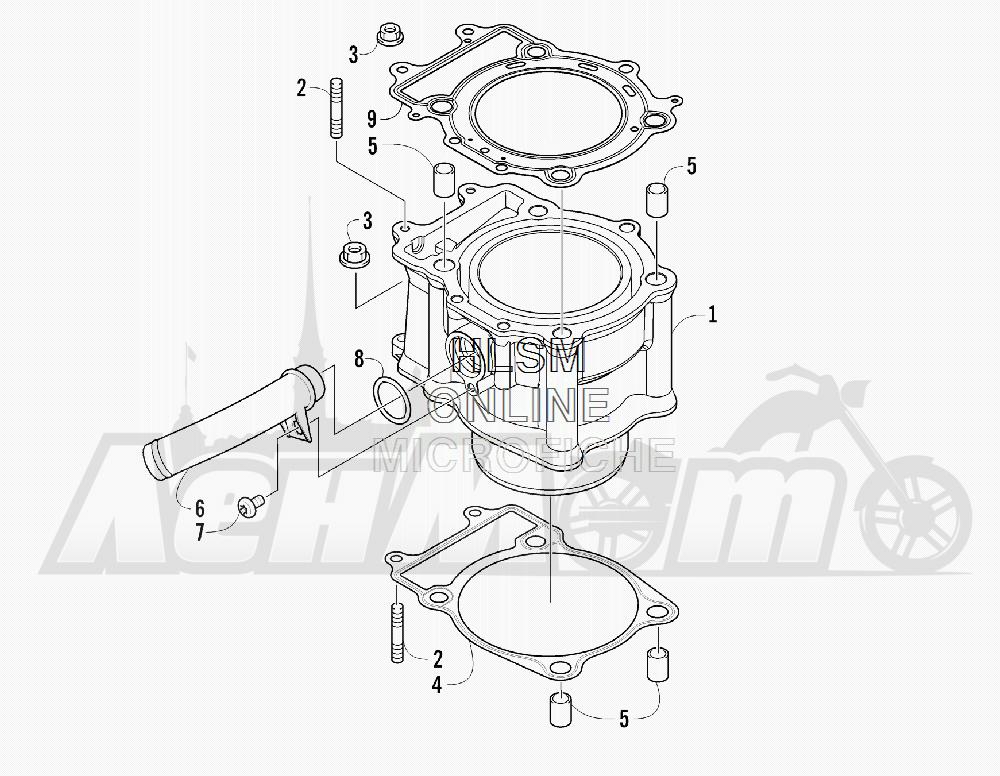 Запчасти для Квадроцикла Arctic Cat 2011 550 TRV GT COPPER [A2011TBO1PUSX] Раздел: CYLINDER ASSEMBLY   цилиндр в сборе
