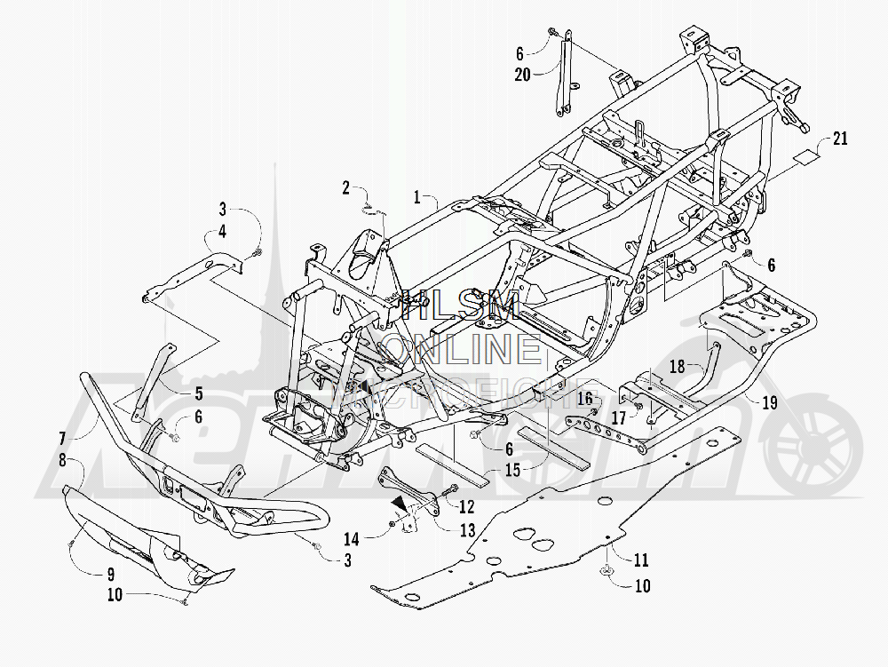Запчасти для Квадроцикла Arctic Cat 2011 550 TRV GT COPPER [A2011TBO1PUSX] Раздел: FRAME AND RELATED PARTS | рама и связанные детали