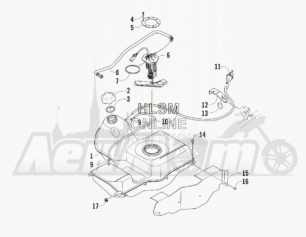 Запчасти для Квадроцикла Arctic Cat 2011 550 TRV GT COPPER [A2011TBO1PUSX] Раздел: GAS TANK ASSEMBLY | топливный бак в сборе