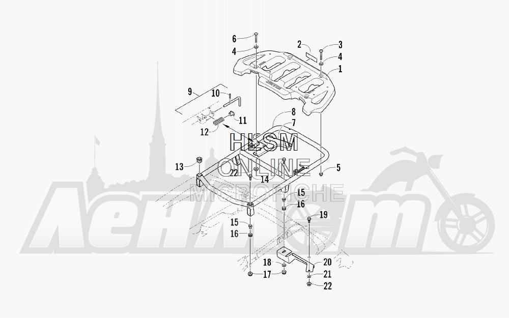Запчасти для Квадроцикла Arctic Cat 2011 550 TRV GT COPPER [A2011TBO1PUSX] Раздел: REAR RACK ASSEMBLY | зад багажник в сборе