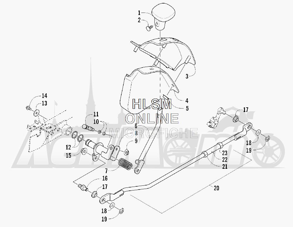 Запчасти для Квадроцикла Arctic Cat 2011 550 TRV GT COPPER [A2011TBO1PUSX] Раздел: SHIFT LEVER ASSEMBLY | лапка переключения в сборе