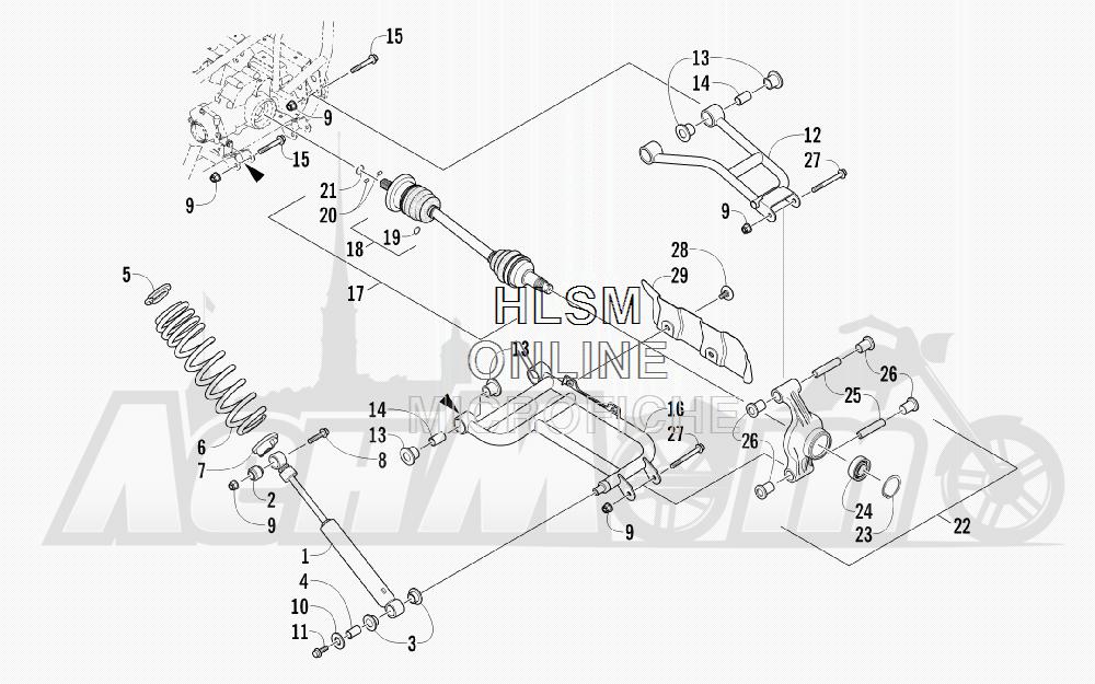 Запчасти для Квадроцикла Arctic Cat 2011 550 TRV GT COPPER INTERNATIONAL [A2011TBO1POSX] Раздел: REAR SUSPENSION ASSEMBLY | задняя подвеска в сборе
